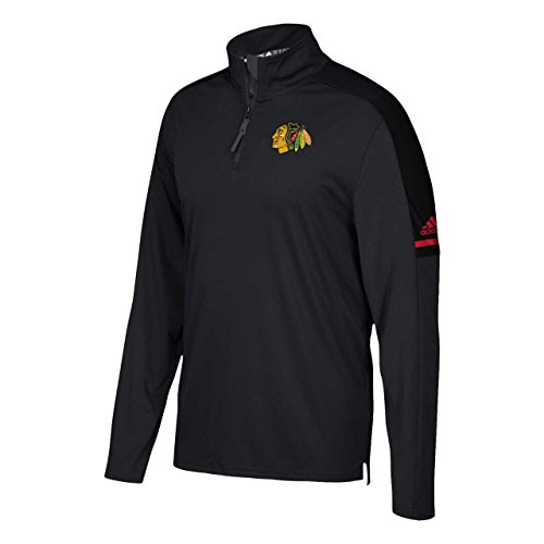 adidas Chicago Blackhawks Adult NHL Authentic Pro 1/4 Zip Pullover - Black, Small