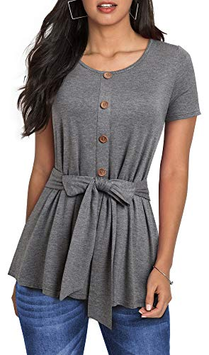 HOMEYEE Women Brief Casual Button Round Neck Self-tie Sashes T-Shirts Tops T038(S,Gray)