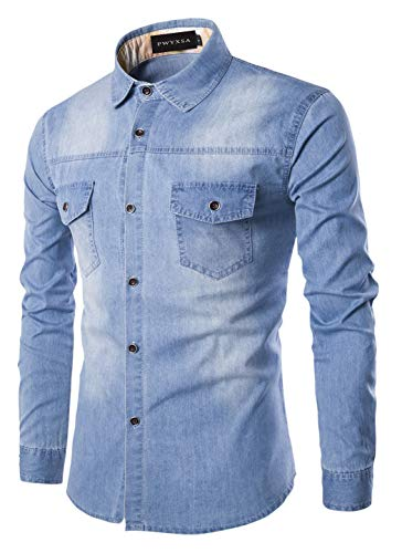 Sawadikaa Mens Casual Vintage Denim Work Shirt Button Down Long Sleeve Stretchy Shirts