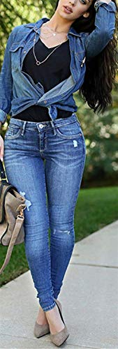 De Mezclilla Mendigo Fashion Vaqueros Elástica Color2 Élastique Cintura Pantalones Agujero Elástico Algodón Mujer Delgado AxHa5nSwq