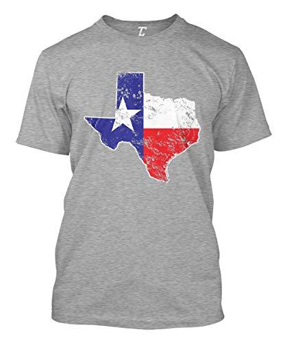 Texas State Flag Map - USA Men's T-Shirt (Light Gray, Medium) -