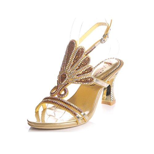 QPYC Diamante a cielo abierto Roma tacones altos boca de pescado cristal fino con hebilla Rhinestone sandalias femeninas de gran tamaño gold
