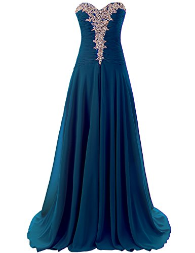 Chiffon Pleats Evening Gown - JAEDEN Women's Long Evening Dresses Chiffon Prom Gown Sweetheart Pleat Aquamarine US14