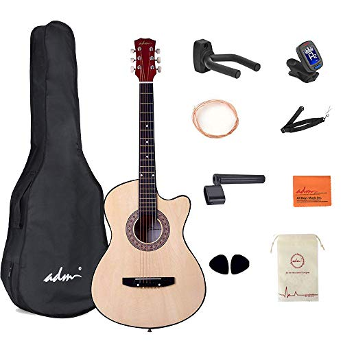 Cutaway 38 Inch Acoustic Guitar Package Beginner Guitar Kit With Bag Strap String Picks Guitar Hook and String Winder