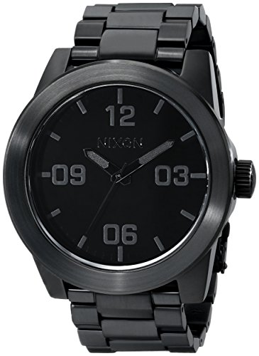 NIXON Corporal SS A347 - All Black - 101M Water Resistant Men's Analog Field Watch (48mm Watch Face, 24mm Stainless Steel Band) ()