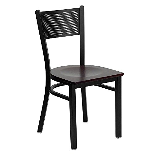 Jackson Metal Mesh Back Cafe Chair with Wood Seat Dimensions: 17.25