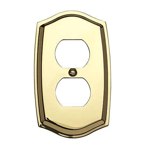 Baldwin Duplex Switchplate - Baldwin 4757.030.CD Colonial Design Duplex Switch Plate, Polished Brass - Lacquered