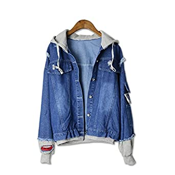 Taylor Heart Warm New Autumn Female Trendy Cool Hooded Demin Jackets Fake 2 pieces Spliced Badge Patch Design Streetwear Loose Chaquetas