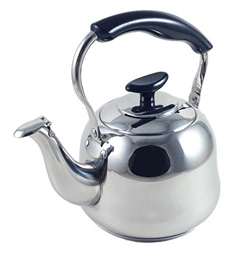 2.5 Liter Alpine Cuisine Polished Mirror-Finish Stainless Steel Whistling Capsule Base Stovetop Teakettle Tea Kettle Teapot, Gas Electric Induction Compatible (Harmonic Tea Kettle)