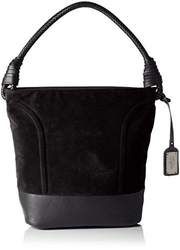 BUFFALO BAG W15-089 IMI SUEDE PU, Borsa con Maniglia Donna Nero (Black 19)