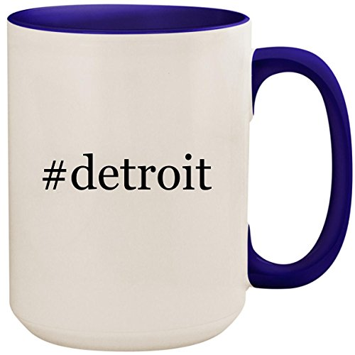 Detroit   15Oz Ceramic Colored Inside And Handle Coffee Mug Cup  Deep Purple