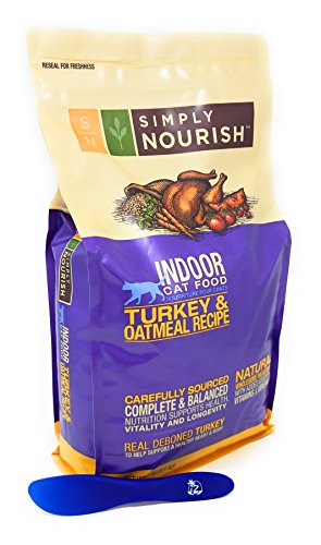 Simply Nourish Adult Dry Cat Food - Natural, Turkey and Oatmeal for Indoor Cats 7lbs with Especiales Cosas Mixing Spatula