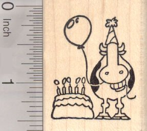 Happy Birthday Grinning Cow Rubber Stamp