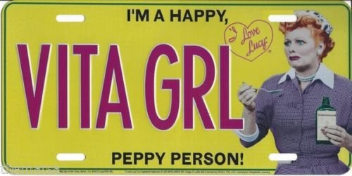 I LOVE LUCY VITA GIRL I'M A PEPPY PERSON USA MADE LICENSE PLATE