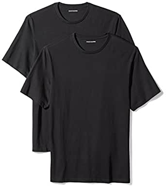 Amazon Essentials Men's 2-Pack Loose-Fit Short-Sleeve Crewneck T-Shirts, Black, X-Small