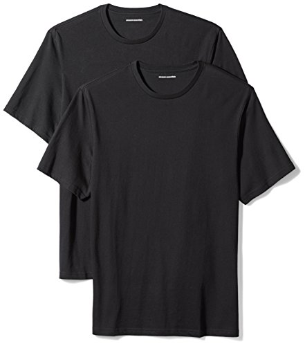 Amazon Essentials Men's 2-Pack Loose-Fit Short-Sleeve Crewneck T-Shirts, Black, Medium