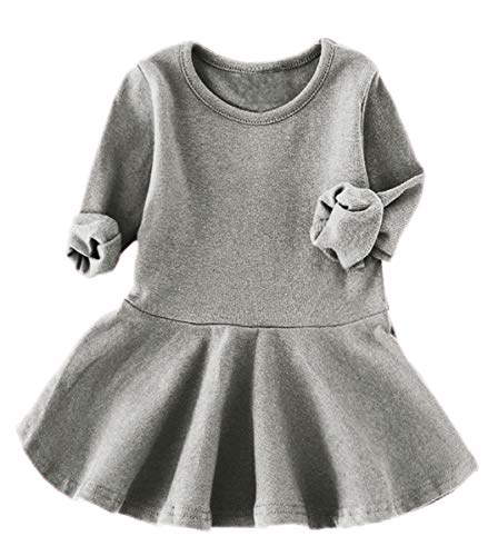 lymanchi Infant Toddler Girls Long Sleeve Dresses Ruffle Cotton Casual Pullover 476 Gray 24/36M]()