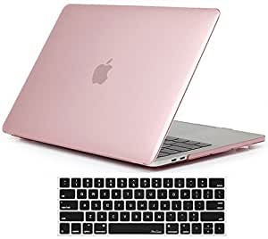 ProCase MacBook Pro 13 Case 2019 2018 2017 2016 Release A2159 A1989 A1706 A1708, Hard Case Shell Cover and Keyboard Skin Cover for Apple MacBook Pro 13 Inch with/Without Touch Bar and Touch ID -Clear Pink