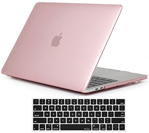 ProCase MacBook Pro 13 Case 2018 2017 2016 Release A1989 A1706 A1708, Hard Case Shell Cover and Keyboard Skin Cover for Apple MacBook Pro 13 Inch -Clear Pink