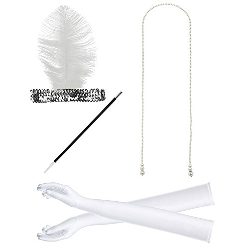 Outfit Gatsby (DJHbuy Wedding Party Gatsby Flapper Feather Headband Necklace Gloves Cigarette Holder)