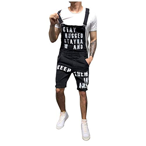 UOFOCO Streetwear Letter Pocket Jeans Mens Overalls Jumpsuit Suspender Pants ()