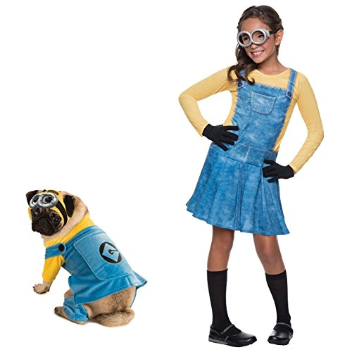 Dog Costume Minion (Female Minion Medium Kids Costume with Large Pet Costume Bundle)