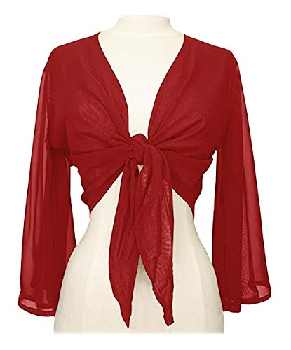 Blouse Wrap Satin - Indian Trendy Women's Chiffon Flair Wrap Tie Top Choli Blouse Belly Dance Gypsy (One Size, Red)