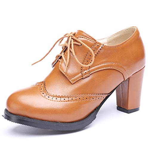 Odema Womens PU Leather Oxfords Brogue Wingtip Lace Up Dress Shoes Chunky High Heels Pumps Oxfords Brown