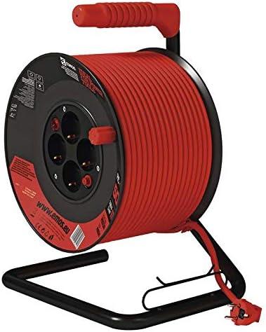 Tambour int/érieur EMOS Enrouleur de c/âble avec Interrupteur Classe de Protection IP 20 3680 W 50 m avec 4 Prises Schuko 1,5 mm