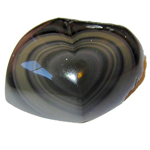 Satin Crystals Obsidian Rainbow Heart Collectible Healing Power of Love Stone, Polished & Raw Lava Rock C55 (2.3