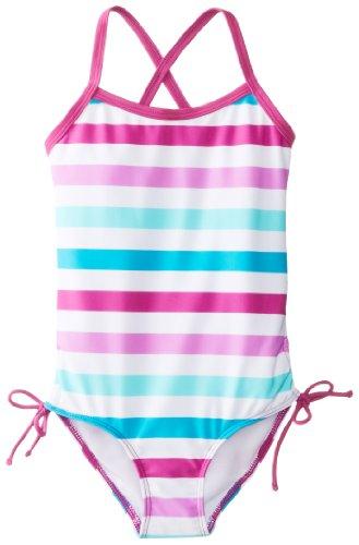 Kanu Surf Little Girls' Sassy One Piece Swimsuit, Purple/Blue, 6X