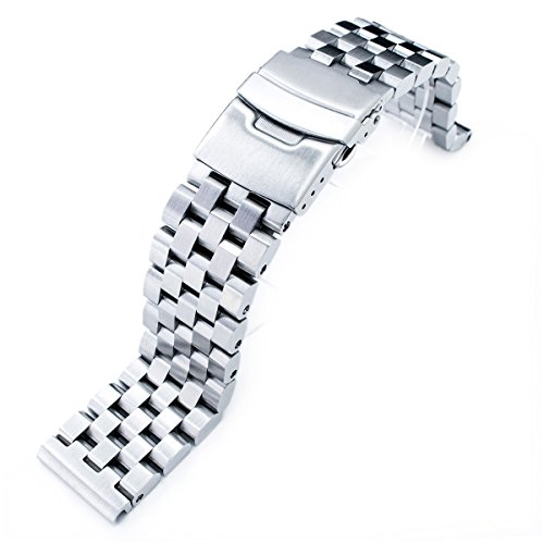 19mm SUPER Engineer Type II Solid Stainless Steel Straight End Watch Band-Push Button by 19mm Metal Band by MiLTAT