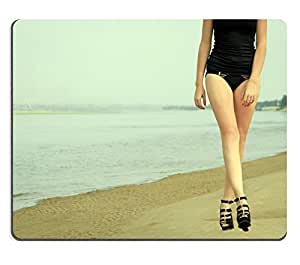 Mouse Pad Natural Rubber Mousepad IMAGE ID: 25413532 Beautiful girl walking on the ocean beach