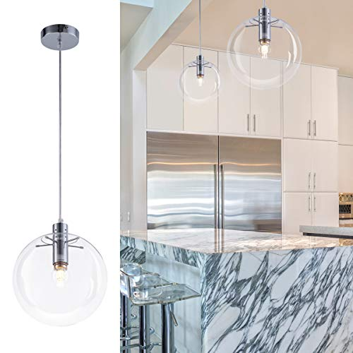 Industrial Glass Orb Pendant Lighting Globe Shape Contemporary Foyer Chandelier 1-Light Hanging Lights Fixture for Kitchen Island Living Dining Room Bedroom Chrome 9.84″ by Bewamf