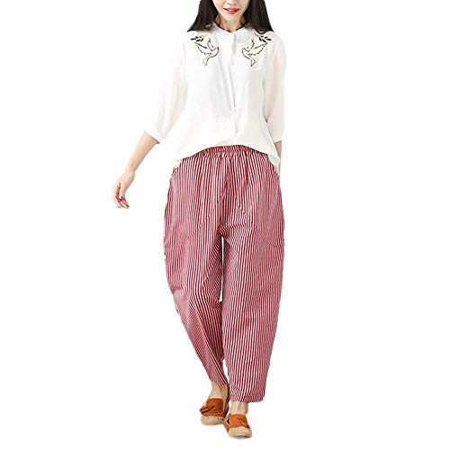 FIRERO Womens Cotton and Linen Plus Size Stripe Easy Haren Pants Broad Leg Pants