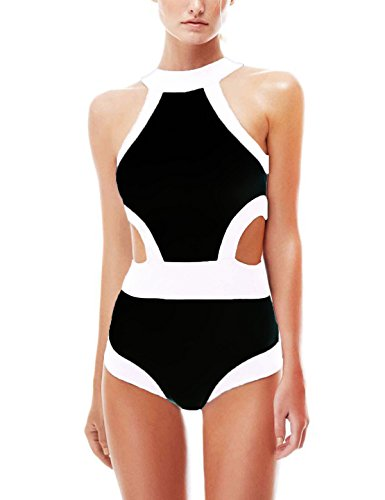 CIDEARY Women's Tankini Cut Out One Piece Swimsuits Vintage Black-and-white Monokini, S,Black