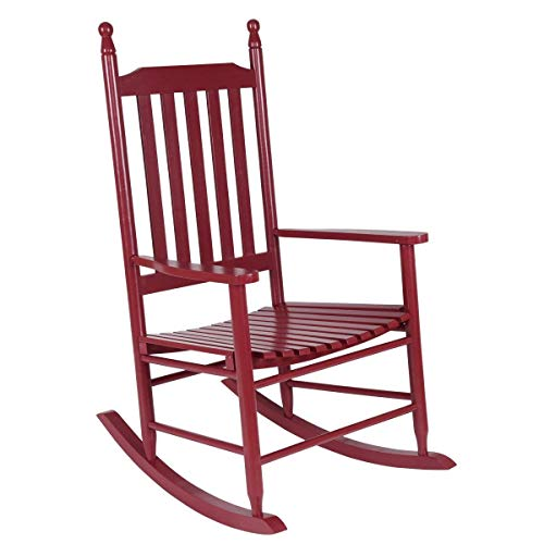 Hulaloveshop Wooden Balcony Deck Garden Porch Armchair Rocking Chair-Red