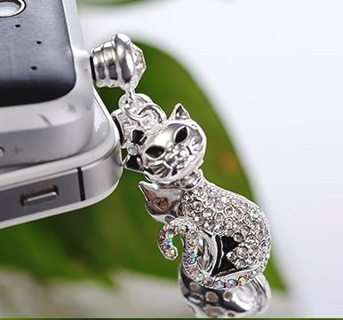 CJB Dust Plug / Earphone Jack Accessory Cute Lovely Long Tail Cat Silver for iPhone 4 4s S4 5 All Device with 3.5mm Jack