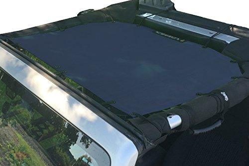 Alien Sunshade Jeep Sunshade Mesh Top Jeep Wrangler 2-Door JK 4-Door JKU 2007-2018 - 10 Year Warranty Front Jeep Top Navy - 4 Door Dash
