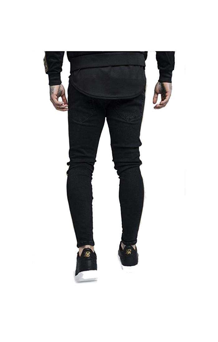 SIKSILK Pantalon Distressed Gold Tape Denims - Black Code: SS ...