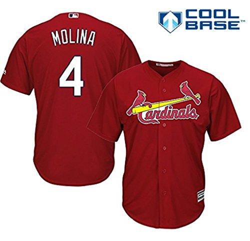 Yadier Molina St. Louis Cardinals #4 MLB Men's Cool Base Alternate Jersey Red (Small)