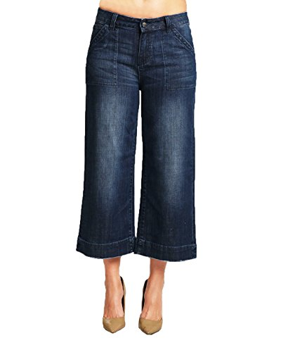 Standards & Practices Women's Stretch Denim Wide Leg Patched Pocket Capri Jeans Size 27 x 23Length -