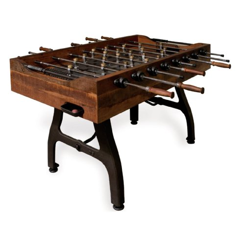 Kathy Kuo Home Bradley Industrial Reclaimed Wood Iron Foosball Table