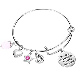 NaNa Chic Jewelry You are my sunshine, my only sunshine Charms Pendant Women Cute Expandable Wire Bangle Adjustable Bracelet(02-006)