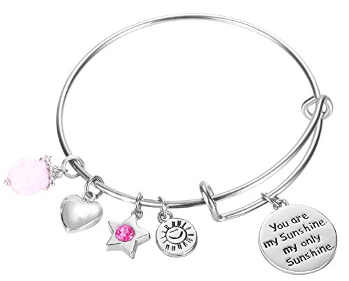 Nana Charm Pendant Jewelry (NaNa Chic Jewelry You are my sunshine, my only sunshine Charms Pendant Women Cute Expandable Wire Bangle Adjustable Bracelet(02-006))