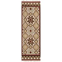 2.5 x 8 Four Corners Southwest Tan Red and Brown Hand Woven Wool Area Throw Rug Runner