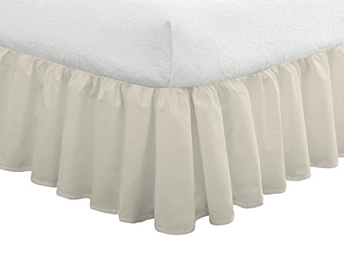 "Ruffled Bedskirt, Classic 14"" drop length, Gathered Styling, California King, Ivory ()"
