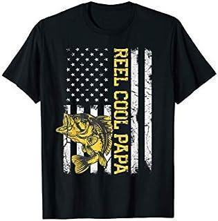 ⭐️⭐️⭐️ Mens Father's Day  Fishing Reel Cool Papa American Flag Need Funny Short/Long Sleeve Shirt/Hoodie