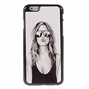 DDL Lovely Girl with Sunglasses Design Aluminum Hard Case for iPhone 6 Plus
