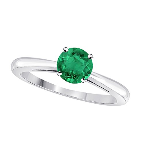 Gems and Jewels Elegant 1 Ct One Carat Round Cut Solitaire Created Green Emerald Engagement Ring in .925 Sterling Silver ()